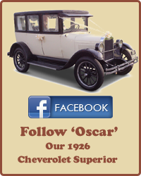 Follow Oscar, our 1926 Cheverolet Superior, on Facebook